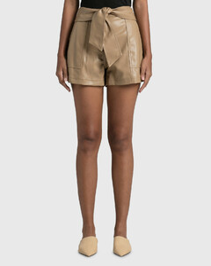 Mari Vegan Leather Tie Waist Shorts