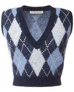Mohair Blend Knit Vest W/ Crystals