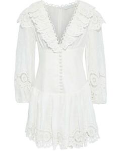 Woman Bellitude Scallop Ruffled Swiss-dot Broderie Anglaise Linen Mini Dress
