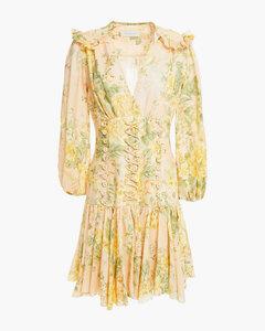 Woman Lace-up Floral-print Linen Mini Dress