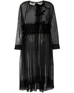 半透明长袖外套式连衣裙