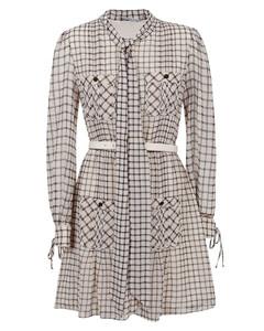 Monochrome Check Chiffon Mini Dress