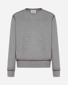 Tricolor-stripes cotton sweatshirt