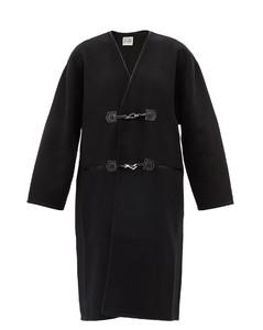 V-neck brushed-wool coat