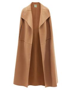 Oversized brushed wool-blend cape