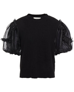 Woman Organza-paneled Ruffle-trimmed Cashmere And Wool-blend Top