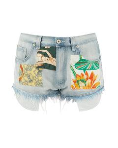 Frayed-hem patched denim shorts