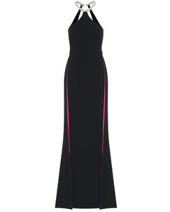 Elina缀饰弹力绉纱长礼服