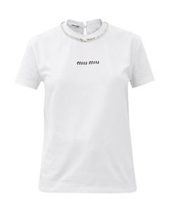 Crystal-embellished cotton-jersey T-shirt