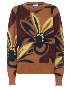 花卉羊驼毛混纺毛衣