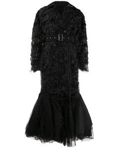 rosette-embellished chiffon and tulle down