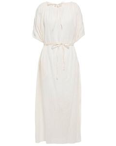 Laureana braid-trimmed metallic striped cotton-blend midi dress