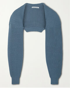 Cropped Ribbed Cotton-blend Cardigan