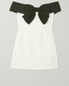 Off-the-shoulder Bow-detailed Crepe Mini Dress