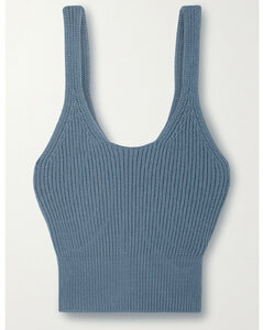Cropped Ribbed Cotton-blend Tank