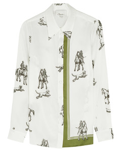 White printed satin-twill shirt