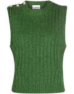 buttoned-shoulder knitted vest