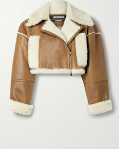 Cropped Textured-leather And Shearling Biker Jacket