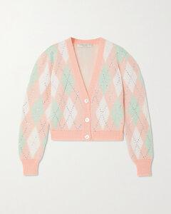 Cropped Crystal-embellished Argyle Mohair-blend Cardigan