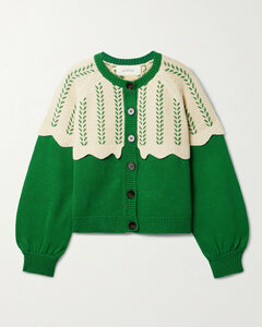 The Scallop Two-tone Embroidered Cotton-blend Cardigan - 0