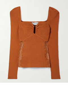 Corded Lace-trimmed Ribbed-knit Sweater
