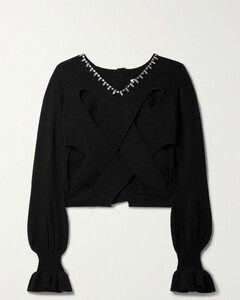 Convertible Embellished Cashmere And Cotton-blend Cardigan