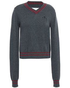 Woman Distressed Cotton And Cashmere-blend Sweater