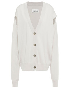 Woman Cutout Cotton And Wool-blend Cardigan