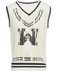Woman Distressed Printed Cable-knit Cotton Vest