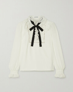 Pussy-bow Embellished Lace-trimmed Crepe Blouse