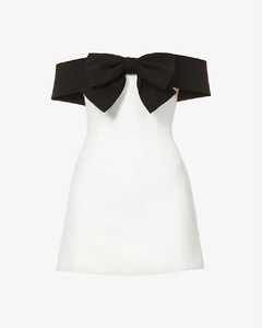 Off-the-shoulder bow crepe mini dress