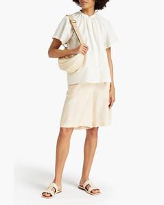 Foglio Off-the-shoulder Gathered Linen-blend Mini Dress