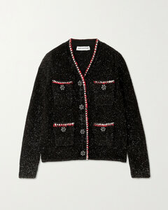 Embellished Metallic Knitted Cardigan