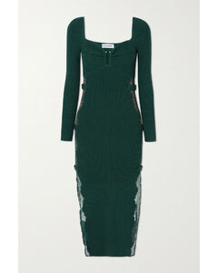 Lace-paneled Ribbed-knit Midi Dress