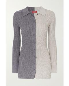Milton Two-tone Ribbed-knit Cardigan