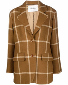 check-print single-breasted blazer