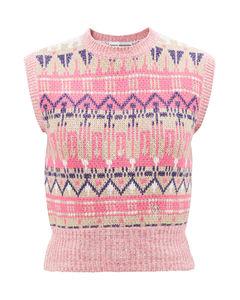 Metallic intarsia-knitted wool-blend tank