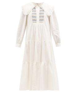 Luna ruffled-collar smocked linen-blend dress