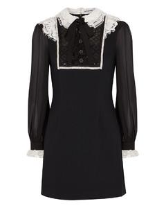 Black embellished lace-trimmed mini dress