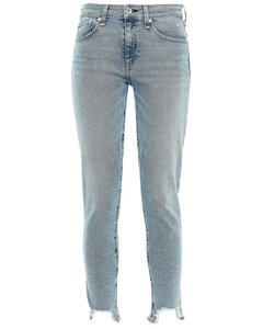 Woman Cropped Distressed Mid-rise Skinny Jeans