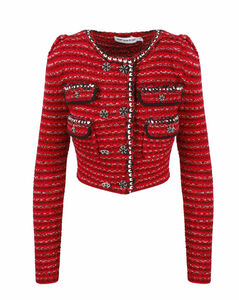 Double-Breasted Cropped Tweed Jacket