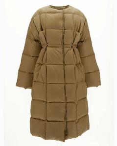 beige long down jacket