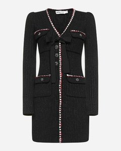 Cotton and wool blend knit mini dress