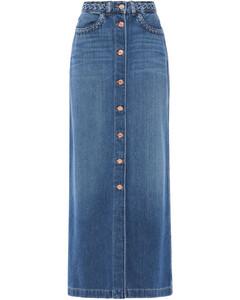 Woman Braid-trimmed Denim Maxi Skirt