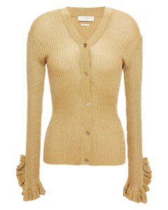Woman Goldie Ruffle-trimmed Metallic Ribbed-knit Cardigan