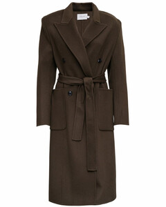Double-breasted Wool And Cashmere Black Long Coat