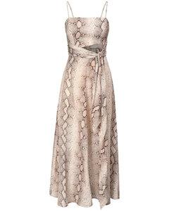 Bellitude Snake Print Linen Midi Dress