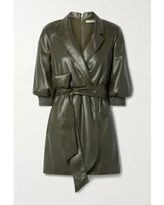 【秀莲同款】Maureen Wrap-effect Belted Vegan Leather Mini Dress