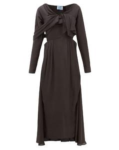 Draped-front sateen midi dress