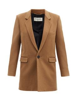 Single-breasted wool-blend felt coat